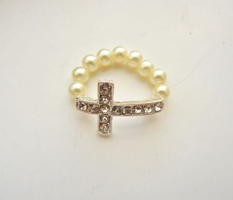 Cream,Crystal,Pearl,Sideways,Cross,Ring,pearl, cream, rhinestone, cross, christian, religious, crucifix, sideways cross
