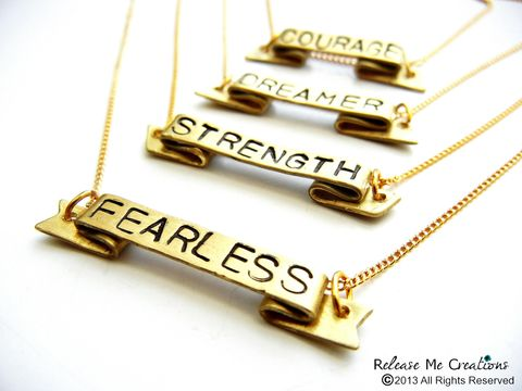 Positive,Mantra,Banner,Necklaces,Fearless,Courage,Strength,Dreamer,positive, banner, necklace, mantra, survivor, cancer, fearless, courage, strength, jewelry, for her