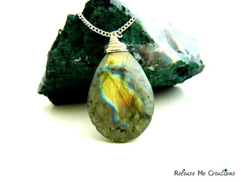 Faceted,Green,Labradorite,Teardrop,Necklace,labradorite, teardrop, faceted, necklace, for her, semi-precious gemstone, healing, release me creations, green, blue, yellow, blue flash