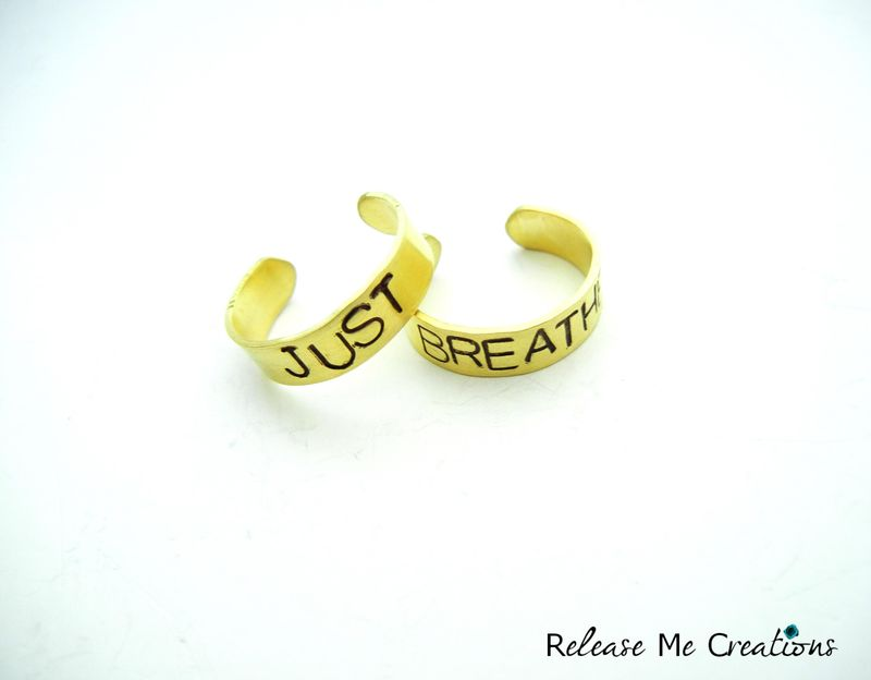 Just Breathe Gold Brass Knuckle Rings - product image