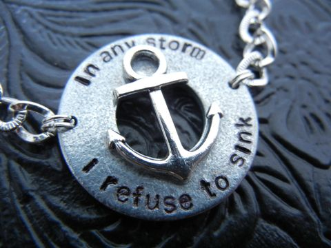 Nautical,Anchor,Bracelet,In,Any,Storm,I,Refuse,to,Sink,nautical, survivor, cancer, bracelet, ocean, maritime, navy, military, birthday, anniversary, boyfriend, girlfriend, unisex, gift, release me creations