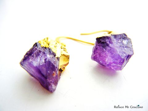 Gold,Dipped,Raw,Amethyst,Earrings,raw, amethyst, semi-precious, gemstone, purple, gold dipped, gold, earring, natural, boho, bohemian jewelry, for her, gift