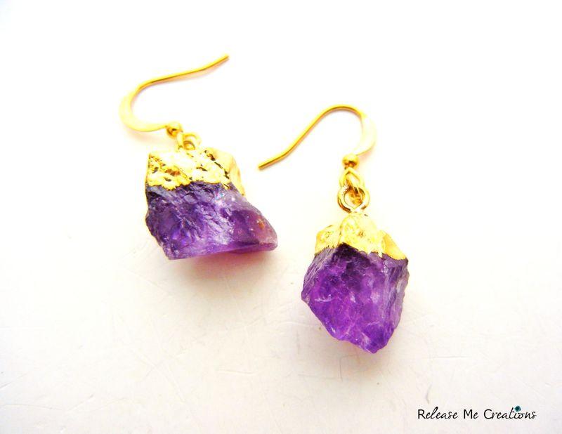 Gold Dipped Raw Amethyst Earrings - product image