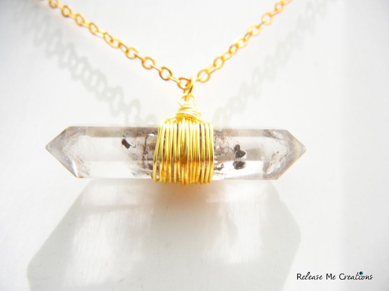 Protection Necklace Double Terminated Tibetan Quartz Crystal - product image