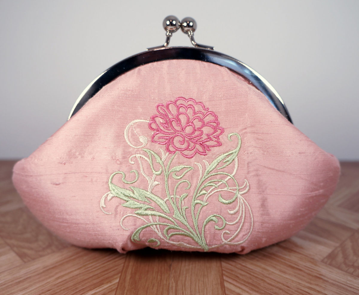 Rose pink silk clutch purse wristlet with embroidered