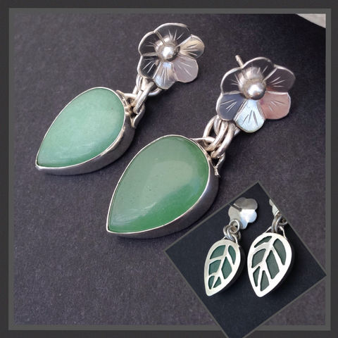 Chrysoprase,Earrings,Silversmith,Flower,and,Leaf,Design,Post,Dangles,Sterling silver chrysoprase earrings, silversmith chrysoprase jewelry, green floral Sterling silver dangles, saw cut,