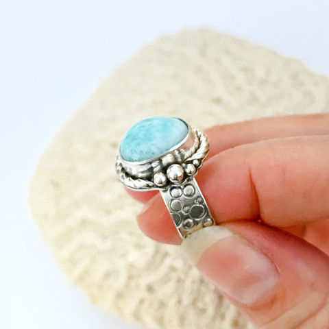 Larimar,Ring,Sterling,Silver,Hand,Stamped,Size,8,Wide,Band,larimar ring, hand stamped wide band, size 8 ring, artisan sterling silverjawelry