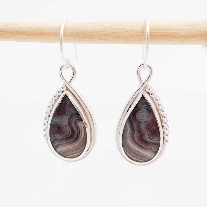 crazy lace agate and sterling silver handmade dangle earrings metalsmith silversmith