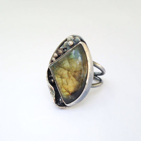 Green,Labradorite,Ring,Size,5,3/4,Handcrafted,Sterling,Silver,Flowers,Leaves,Green labradorite ring, floral design, silver jewelry, artisan, bohemian, boho chic