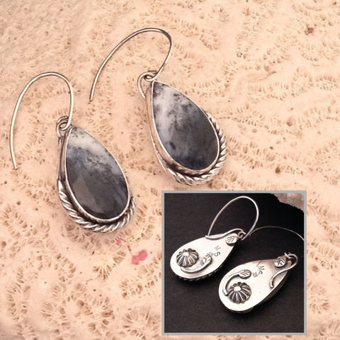Dendritic,Agate,Earrings,Silversmith,Dangles,Fancy,Backs,Dendritic agate Sterling silver earrings, silversmith dendritic agate dangles, boho chic Handcrafted jewelry, black and white stone jewelry