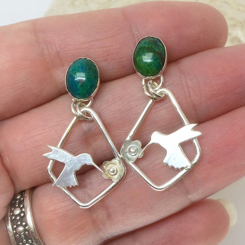Chrysocolla,Stone,Hummingbird,Earrings,Silversmith,Green,Post,Dangles,chrysocolla stone dangles, green hummingbird earrings, artisan silversmith bird jewelry, Sterling silver hummingbird