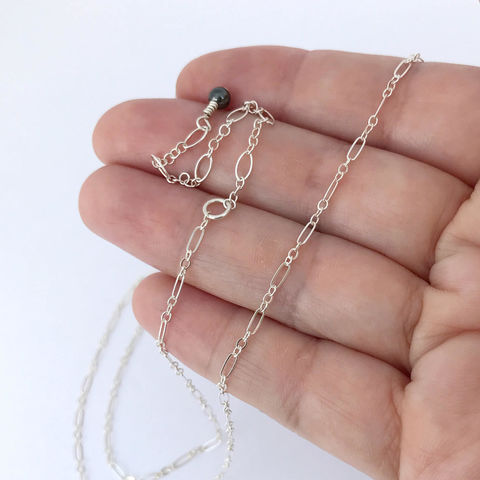 Adjustable,16,to,19,inch,Sterling,Silver,Chain,with,Long,and,Short,Links,Sterling silver chain, adjustable length, long and short links