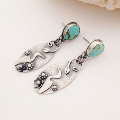 Turquoise,Egret,Bird,Statement,Earrings,Silversmith,Post,Dangles,Egret bird jewelry, turquoise bird earrings, silversmith statement earrings, boho chic dangles, nature lover gift, bird lover gift