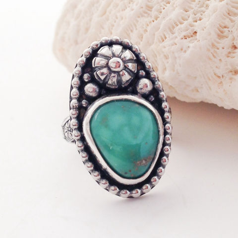 Floral,Artisan,Turquoise,and,Sterling,Silver,Statement,Ring,Size,6,1/2,Tunnel mine turquoise, floral artisan ring, turquoise and Sterling silver statement ring, size 6, boho chic floral jewelry