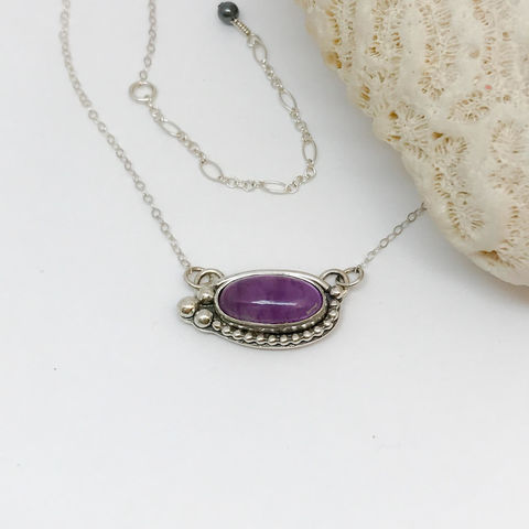 Amethyst,Bar,Necklace,Sterling,Silver,Adjustable,Chain,Amethyst bar necklace, purple silversmith necklace, adjustable silver chain, artisan silversmith