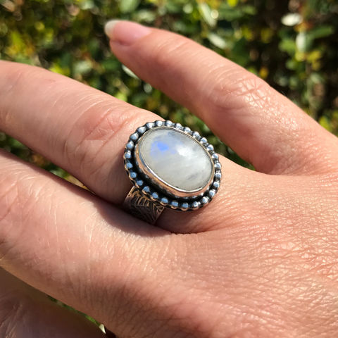 Rainbow,Moonstone,Ring,Size,6,1/2,Leaf,Pattern,Wide,Band,Rainbow moonstone ring, artisan hand stamped wide band, leaf motif silver ring, silversmith moonstone