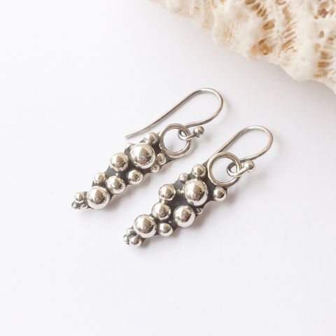 Cluster,Sterling,Silver,Earrings,Pebble,Design,Dangles,Solid Sterling silver ball earrings, silver pebbles, silversmith dangles,