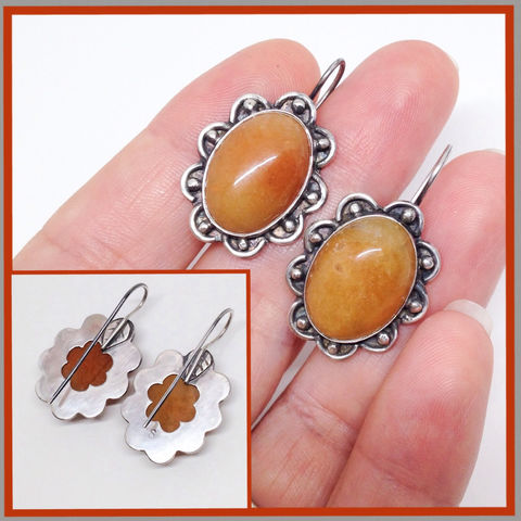 Mango,Chalcedony,Flower,Earrings,Yellow,Orange,Silversmith,Drop,mango chalcedony flower earrings, silversmith floral dangles, yellow orange drop earrings, Sterling silver chalcedony