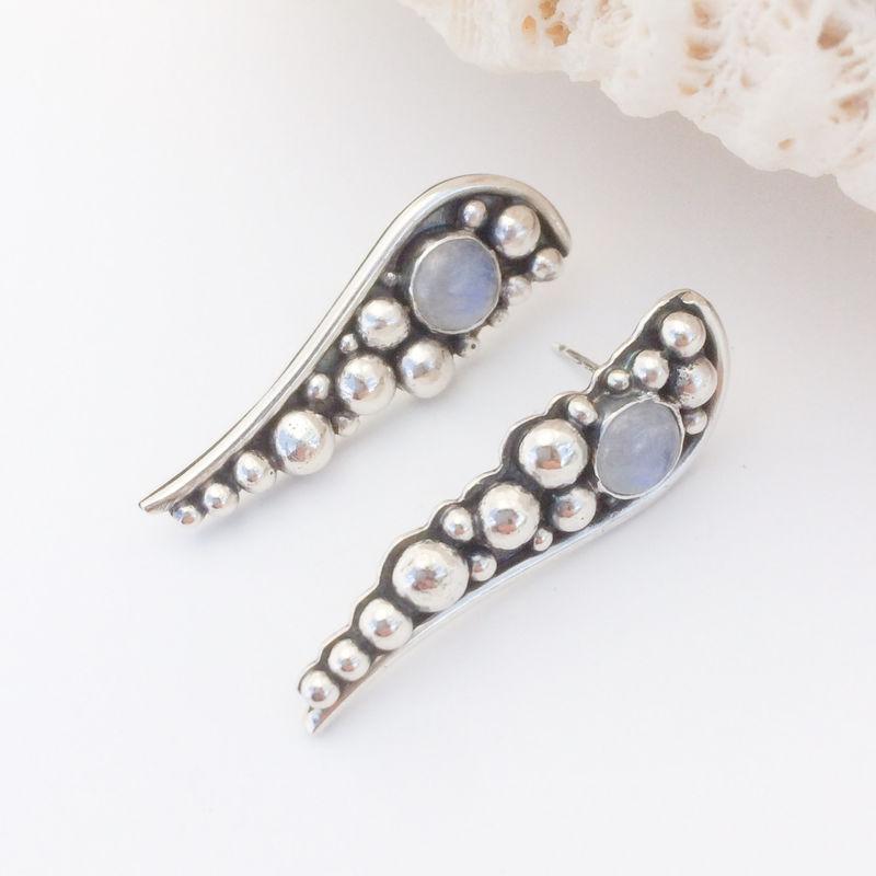 Rainbow Moonstone Stud Earrings Long Post Product Images Of