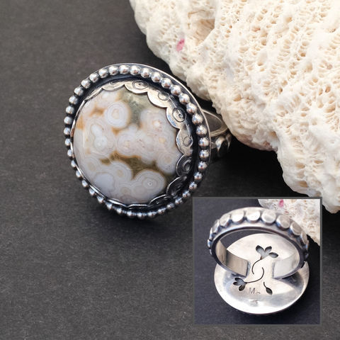 Ocean,Jasper,Ring,Size,8,3/4,Round,Floral,Sterling,Silver,size 8 ocean Jasper ring, sterling silver floral ring, artisan silversmith