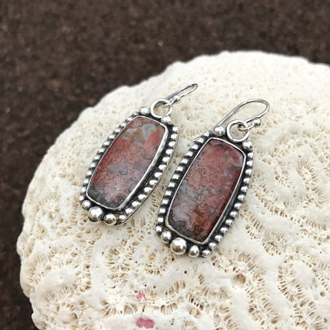 Red,Crazy,Lace,Agate,Earrings,Artisan,Statement,Dangles,red crazy lace agate earrings, agate drop earrings, red silversmith dangles, Sterling silver jewelry