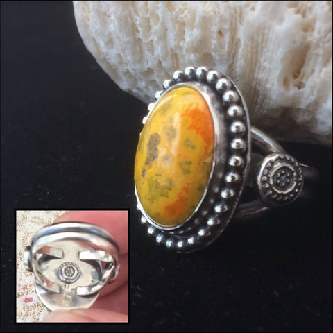 Yellow,Jasper,Ring,Size,8,Bumble,Bee,Artisan,Sterling,Silver,bubble bee jasper ring, bright yellow artisan ring, silversmith statement jewelry