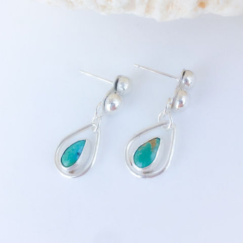Artisan,Turquoise,Rain,Drop,Earrings,Sterling,Silver,Posts,artisan turquoise drop earrings, rain drop earrings, Sterling silver turquoise dangles, minimalist Sterling silver jewelry