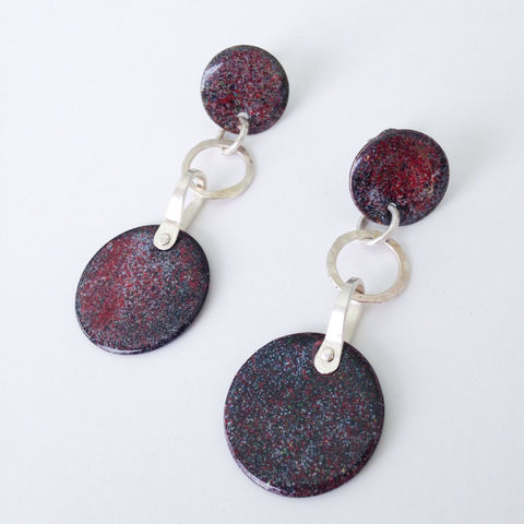 Burgundy,Dangle,Earrings,Outer,Space,Enamel,Sterling,Silver,outer space earrings, artisan enamel , handcrafted sterling silver, enamelist jewelry