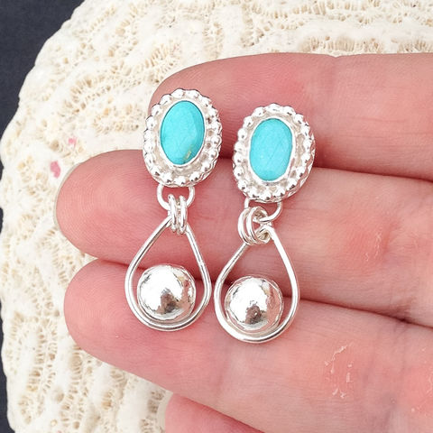 Turquoise,Earrings,Artisan,Rain,Drops,Boho,Chic,Post,Dangles,kingman turquoise earrings, sterling silver rain drops, boho chic posts, artisan dangles