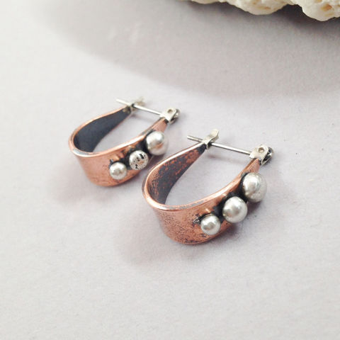 Mixed,Metal,Hoop,Earrings,Copper,and,Sterling,Silver,Ball,Accents,mixed metal earrings, solid copper, sterling silver, metalsmith, hoops, bohemian, boho chic,