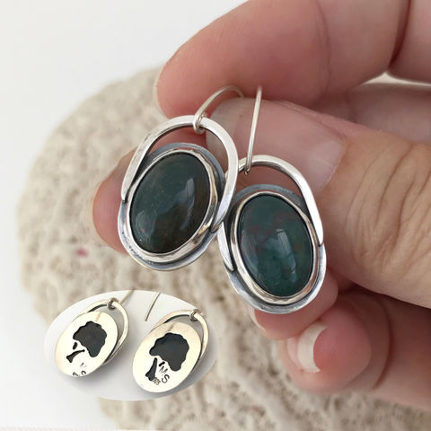 Contemporary,Bloodstone,Earrings,Artisan,Tree,of,Life,Design,Contemporary bloodstone earrings, green stone dangles, tree of life earrings, artisan, silversmith