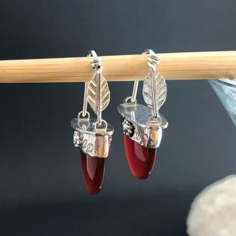 Carnelian,Earrings,Sterling,Silver,Leaf,Red,Stone,Dangles,leaves