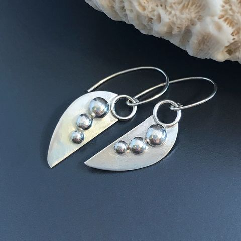 Sterling,Silver,Ball,Earrings,Artisan,Silversmith,Dangles,sterling silver ball earrings, artisan silversmith dangles