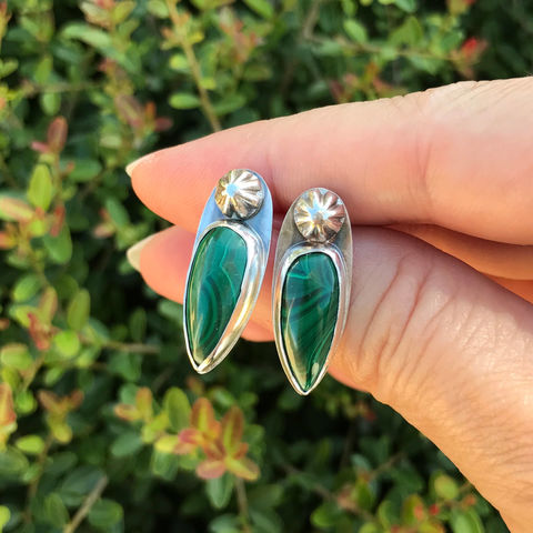 Malachite,Earrings,Deep,Green,Long,Posts,Sterling,Silver