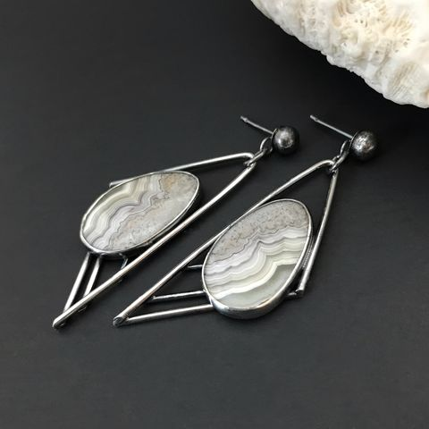 Crazy,Lace,Agate,Earrings,Sterling,Silver,Modern,Asymmetrical,crazy lace agate earrings, sterling silver jewelry, modern silversmith, asymmetrical dangles