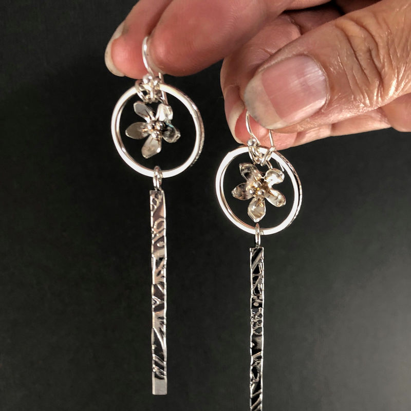 Very Long Sterling Silver Flower Earrings, Hand Fabricated - product images of