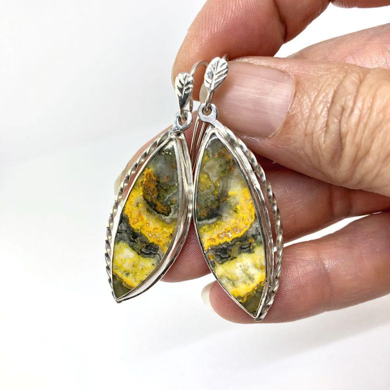 Designer Bumble Bee Jasper Sterling Silver earrings