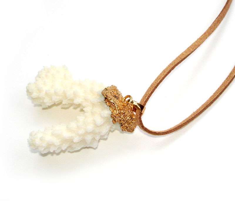 Beautiful natural white coral pendant necklace. - product images  of