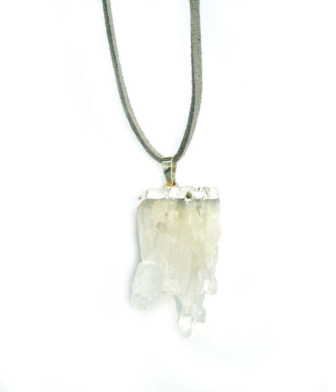 Crystal quartz druzy  pendant necklace. - product images  of