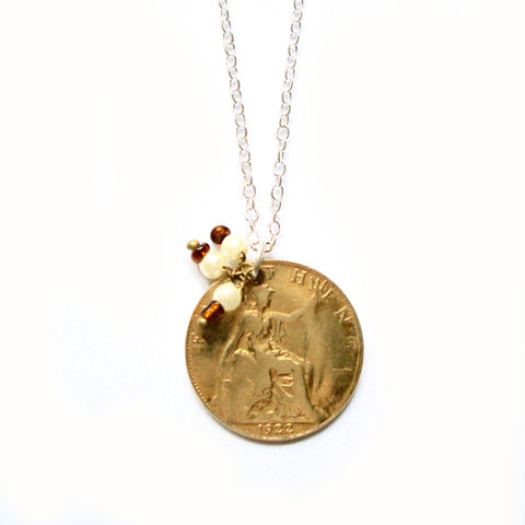 'Porteur,de,Fortune',-,1922,GEORGE,V,GOLD,FILLED,FARTHING,Jewellery, Antique, Gold, Silver, Lucky Love Token, Coin, Necklace.