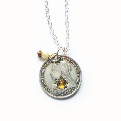 'Porteur,de,Fortune',-,1897,Queen,Victoria,Silver,Threepence,Jewellery, Antique, Silver, Lucky Love Token, Coin, Necklace, Yellow Garnet Stone.