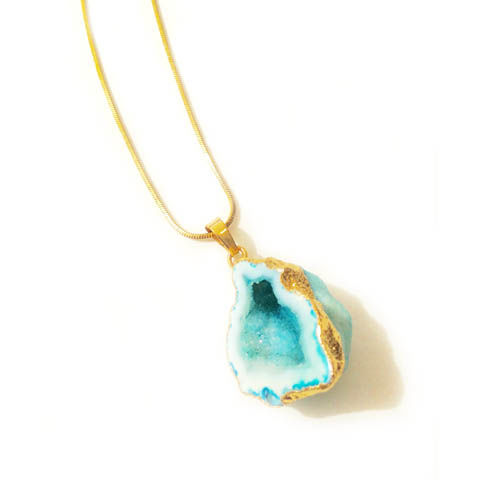 Turquoise rock agate crystal pendant necklace - product images  of