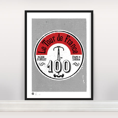 Le,Tour,100,Vintage,-,Ltd,Edition,Screen Print, Typographic Poster, Tour de France