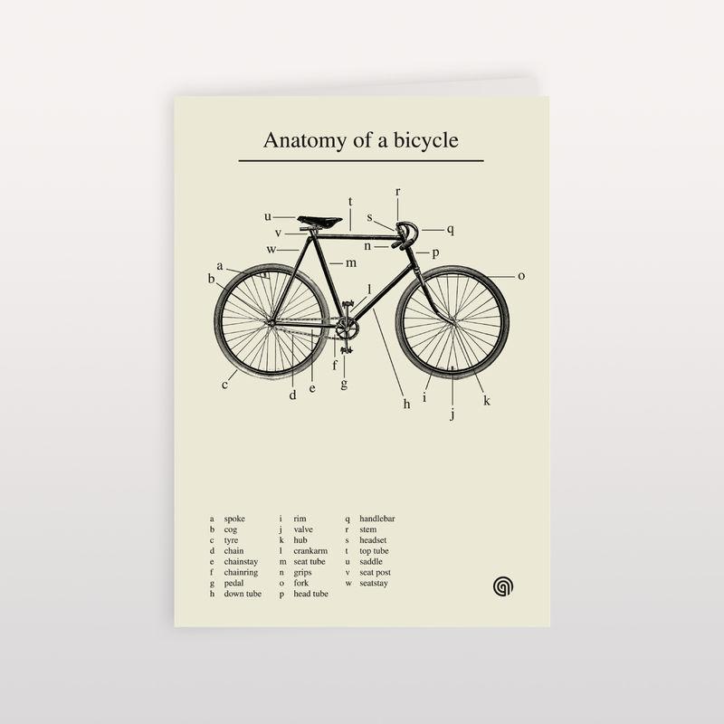 Anatomy of a Bicycle - 120x170mm - Greeting Card - anthonyoram