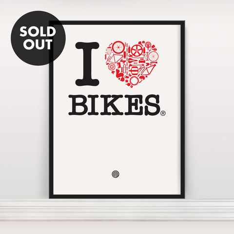I,Heart,Bikes,-,Screen,Print,Screenprint, Screen Print, Bike, Cycle, Bike Love