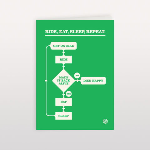Ride,,Eat,,Sleep,,Repeat.,Chart,Green.,-,Greeting,Card,120x170mm,Ride Eat Sleep Repeat, Greeting Card, Anthony Oram