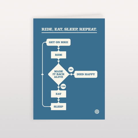 Ride,,Eat,,Sleep,,Repeat.,Chart,Blue.,-,Greeting,Card,120x170mm,Ride Eat Sleep Repeat, Greeting Card, Anthony Oram
