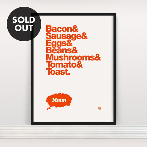 Bacon,&,Eggs:,Edition,2,-,Screen,Print,Screen Print, Bacon & Eggs, gift, breakfast