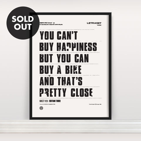 You,Can't,Buy,Happiness,-,Screen,Print,Edition,3,Screen Print, Typographic Poster, You Can't Buy Happiness