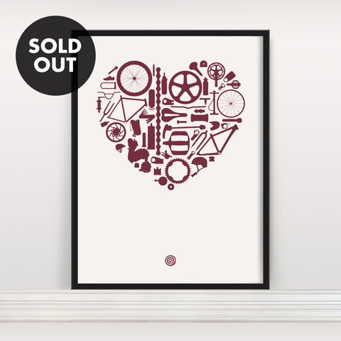 Bike,Love,-,Screen,Print,Edition,4,Screen Print, Typographic Poster, Bike Love